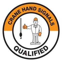 """Safety Label, CRANE HAND SIGNALS QUALIFIED, 2.25"""", Vinyl, Orange/Black/White"""