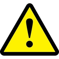 "Safety Sign, (GENERAL WARNING HAZARD SYMBOL), 2"", Dura-Polyester Vinyl, Black on Yellow, 10/PK"