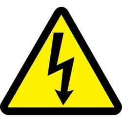 "Safety Sign, (ELECTRIC VOLTAGE HAZARD SYMBOL), 2"", Dura-Polyester Vinyl, Black on Yellow, 10/PK"