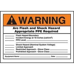 "Safety Sign, WARNING ARC FLASH AND SHOCK HAZARD APPROPRIATE PPE REQUIRED..., 3.5"" x 5"", Dura-Polyester Vinyl, Orange/Black/White"