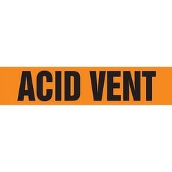 "Pipe Marker, ACID VENT, 1"" x 8"", Dura-Polyester Vinyl, Black on Orange"