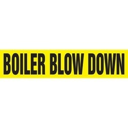 "Pipe Marker, BOILER BLOW DOWN, 14"" x 12"", Coiled Rigid Vinyl, Black on Yellow"