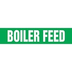 """Pipe Marker, BOILER FEED, 2.5"""" x 12"""", Dura-Polyester Vinyl, White on Green"""