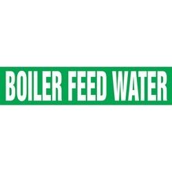 "Pipe Marker, BOILER FEED WATER, 1.5"" x 8"", Dura-Polyester Vinyl, White on Green"