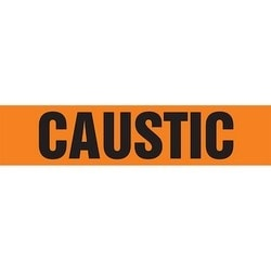 "Pipe Marker, CAUSTIC, 1.5"" x 8"", Dura-Polyester Vinyl, Black on Orange"