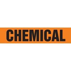 "Pipe Marker, CHEMICAL, 1"" x 8"", Dura-Polyester Vinyl, Black on Orange"