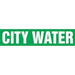 "Pipe Marker, CITY WATER, 4"" x 24"", Dura-Polyester Vinyl, White on Green"