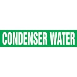 "Pipe Marker, CONDENSER WATER, 2.5"" x 12"", Dura-Polyester Vinyl, White on Green"