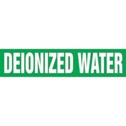 "Pipe Marker, DEIONIZED WATER, 4"" x 24"", Dura-Polyester Vinyl, White on Green"