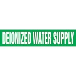 "Pipe Marker, DEIONIZED WATER SUPPLY, 1"" x 8"", Dura-Polyester Vinyl, White on Green"