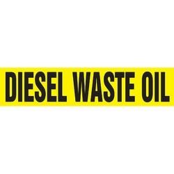 "Pipe Marker, DIESEL WASTE OIL, 1.5"" x 8"", Dura-Polyester Vinyl, Black on Yellow"
