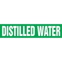 "Pipe Marker, DISTILLED WATER, 4"" x 24"", Dura-Polyester Vinyl, White on Green"