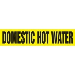 """Pipe Marker, DOMESTIC HOT WATER, 4"""" x 24"""", Dura-Polyester Vinyl, Black on Yellow"""