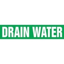 "Pipe Marker, DRAIN WATER, 1.5"" x 8"", Dura-Polyester Vinyl, White on Green"