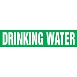 "Pipe Marker, DRINKING WATER, 1"" x 8"", Dura-Polyester Vinyl, White on Green"