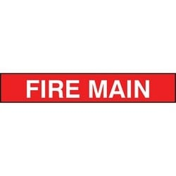 "Pipe Marker, FIRE MAIN, 1"" x 8"", Dura-Polyester Vinyl, White on Red"