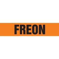 "Pipe Marker, FREON, 2.5"" x 12"", Dura-Polyester Vinyl, Black on Orange"