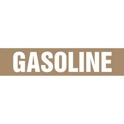 "Pipe Marker, GASOLINE, 9"" x 8"", Coiled Rigid Vinyl, White on Brown"