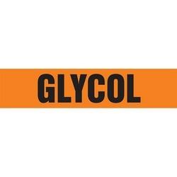 "Pipe Marker, GLYCOL, 4"" x 24"", Dura-Polyester Vinyl, Black on Orange"