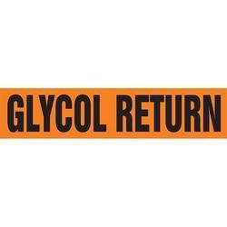 "Pipe Marker, GLYCOL RETURN, 4"" x 24"", Dura-Polyester Vinyl, Black on Orange"