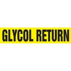 "Pipe Marker, GLYCOL RETURN, 1.5"" x 8"", Dura-Polyester Vinyl, Black on Yellow"