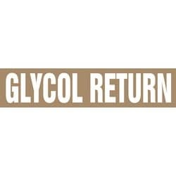 """Pipe Marker, GLYCOL RETURN, 19"""" x 12"""", Coiled Rigid Vinyl, White on Brown"""
