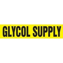 """Pipe Marker, GLYCOL SUPPLY, 25"""" x 12"""", Coiled Rigid Vinyl, Black on Yellow"""
