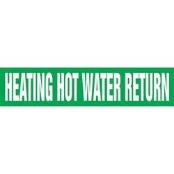 "Pipe Marker, HEATING HOT WATER RETURN, 1"" x 8"", Dura-Polyester Vinyl, White on Green"