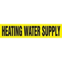 """Pipe Marker, HEATING WATER SUPPLY, 25"""" x 12"""", Dura-Polyester Vinyl, Black on Yellow"""
