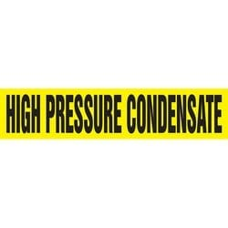 "Pipe Marker, HIGH PRESSURE CONDENSATE, 1"" x 8"", Dura-Polyester Vinyl, Black on Yellow"