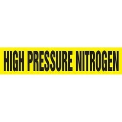 "Pipe Marker, HIGH PRESSURE NITROGEN, 1.5"" x 8"", Dura-Polyester Vinyl, Black on Yellow"