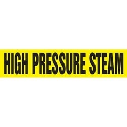 "Pipe Marker, HIGH PRESSURE STEAM, 2.5"" x 12"", Dura-Polyester Vinyl, Black on Yellow"