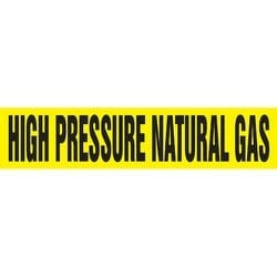 """Pipe Marker, HIGH PRESSURE NATURAL GAS, 2.5"""" x 12"""", Dura-Polyester Vinyl, Black on Yellow"""