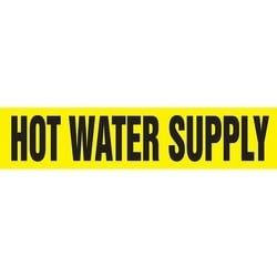 """Pipe Marker, HOT WATER SUPPLY, 2.5"""" x 12"""", Dura-Polyester Vinyl, Black on Yellow"""
