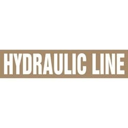 """Pipe Marker, HYDRAULIC LINE, 4"""" x 24"""", Dura-Polyester Vinyl, White on Brown"""