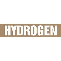 """Pipe Marker, HYDROGEN, 1.5"""" x 8"""", Dura-Polyester Vinyl, White on Brown"""