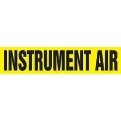 """Pipe Marker, INSTRUMENT AIR, 4"""" x 24"""", Dura-Polyester Vinyl, Black on Yellow"""
