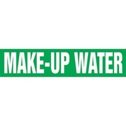 "Pipe Marker, MAKE-UP WATER, 4"" x 24"", Dura-Polyester Vinyl, White on Green"