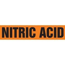 "Pipe Marker, NITRIC ACID, 1.5"" x 8"", Dura-Polyester Vinyl, Black on Orange"