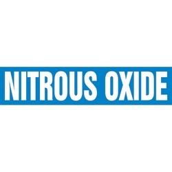 """Pipe Marker, NITROUS OXIDE, 4"""" x 24"""", Dura-Polyester Vinyl, White on Blue"""