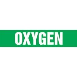 "Pipe Marker, OXYGEN, 2.5"" x 12"", Dura-Polyester Vinyl, White on Green"