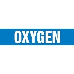 "Pipe Marker, OXYGEN, 2.5"" x 12"", Dura-Polyester Vinyl, White on Blue"