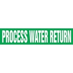 "Pipe Marker, PROCESS WATER RETURN, 4"" x 24"", Dura-Polyester Vinyl, White on Green"