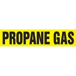 "Pipe Marker, PROPANE GAS, 1.5"" x 8"", Dura-Polyester Vinyl, Black on Yellow"