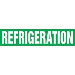 "Pipe Marker, REFRIGERATION, 2.5"" x 12"", Dura-Polyester Vinyl, White on Green"