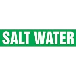 "Pipe Marker, SALT WATER, 1.5"" x 8"", Dura-Polyester Vinyl, White on Green"