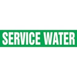 "Pipe Marker, SERVICE WATER, 1.5"" x 8"", Dura-Polyester Vinyl, White on Green"