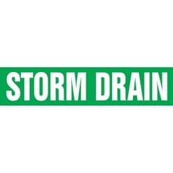 "Pipe Marker, STORM DRAIN, 1"" x 8"", Dura-Polyester Vinyl, White on Green"