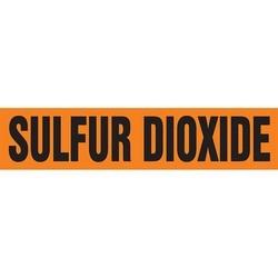 "Pipe Marker, SULFUR DIOXIDE, 2.5"" x 12"", Dura-Polyester Vinyl, Black on Orange"
