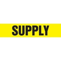 """Pipe Marker, SUPPLY, 14"""" x 12"""", Coiled Rigid Vinyl, Black on Yellow"""